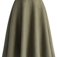 Quilted Midi Skirt in Olive Green