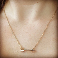 Arrow Necklace- charm, gold, dainty