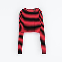 STRIPED CROPPED T - SHIRT - T - shirts - Woman | ZARA United States