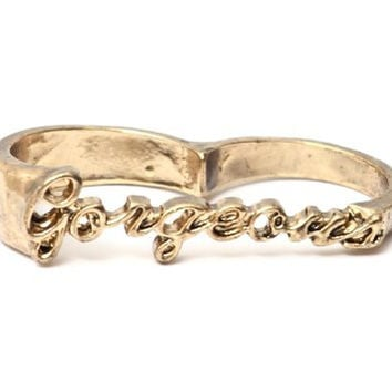 Gorgeous Double Ring Size 6.5 Knuckle Gold Tone Cursive Script RB08 Fashion Jewelry