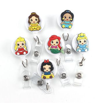 1Pcs Cartoon Retractable Badge Reel High quality silicone Student Nurse Exihibiton ID Name Card Badge Holder Office Supplies