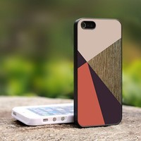 Coral Brown Color Block - For iPhone 5 Black Case Cover
