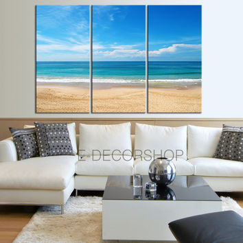 Canvas Print Beach and Sea Landscape 3 Panel Wall Art Print - Ready to Hang - Ocean Wall Art - Triptych