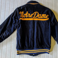 Corduroy Varsity Jacket Notre Dame Blue & Gold Early Park Regal Sportswear Letterman Jacket Collectible Old Felt Letters Conservation Worthy