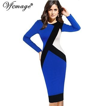 Vfemage Womens Autumn Winter Elegant Optical Illusion Colorblock Modest Slim Work Business Casual Party Sheath Pencil Dress 4725