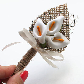 Set of 6 Ivory Lily Flower Boutonniere Natural Eco Friendly Burlap Boutonniere