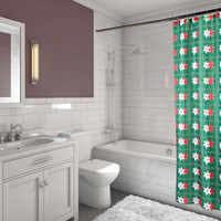 """Felices Pascuas Collection Christmas Fabric Shower Curtain (70"""" x 72"""") with Matching Santa Bath Hooks - Poinsettia"""
