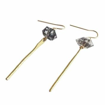 Herkimer Diamond Bar Earrings