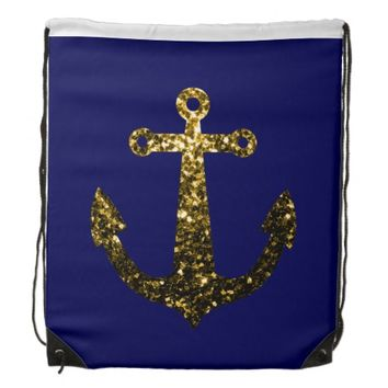 Yellow Gold sparkles Anchors Navy blue Cinch Bag (Drawstring Backpack) by PLdesign