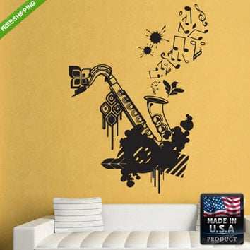 Wall Decal Mural Sticker Beautyfull Sax saxophone Grunge Flowers Audio (z155)