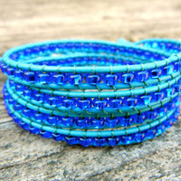 Beaded Leather Wrap Bracelet 4 Wrap with Blue Glass Beads on Turquoise Leather Blue Ocean Summer Bracelet