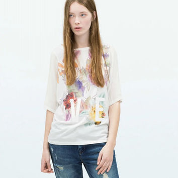 White Floral Printed  T-Shirts