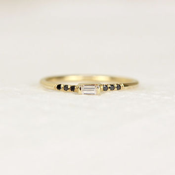 14K Solid Gold Thin Baguette Diamond Engagement Ring,Simple Black Diamond Engagement Ring,Gold Dainty Stacking Ring