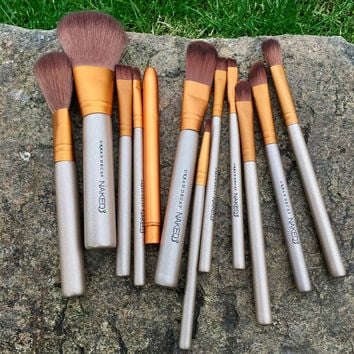 12 Golden Cosmetic Makeup Pointed Foundation Coutour Detailer Buffing Brush Set