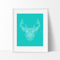 Teal Geometric Poly Deer Stag Head