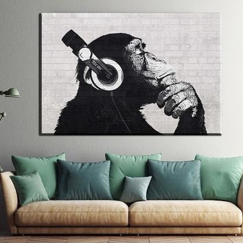 ZZ2318 Custom canvas poster Steez Monkey  headphone posters Home Decoration oil paintings art for livingroom wall unframed