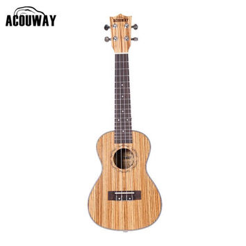 "Acouway Acoustic 23"" inch Concert Ukulele small mini guitar zebra wood white ABS binding Ukulele Guitar Hawaiian Ukelele Uke"