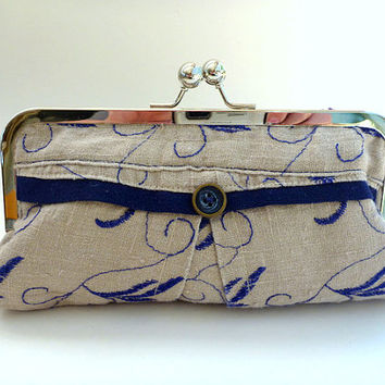 linen clutch, purse, wallet, cosmetic bag, clutch purse, pouch, navy, taupe, spring wedding, spring clutch, weddings, bridesmaid, bridal