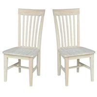 Set of 2 - Mission Style Unfinished Wood Dining Chair with High Back