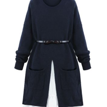 Hallee Navy Blue Belted Layered Knit Dress