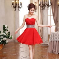 Vestidos De Festa High-quality Sexy Short Crystals Chiffon Winter Formal Dress