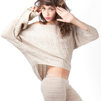 Cozy Cocoon Off Shoulder Slouchy Shadow Stripe Stripe Sexy Sweater Made In USA by KD dance New York