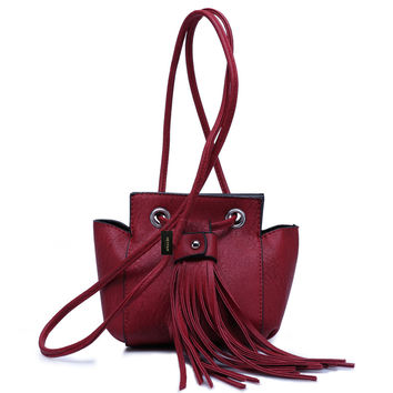 Women's Retro Tassel PU Leather Mini Crossbody Bag Purse