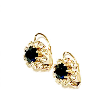 Crystals all around with a center CZ stone 18Kts  Gold Plated Earrings