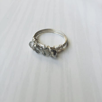 Wire Wrapped Ring (The Kaye) - Crystal Ring - Silver Ring