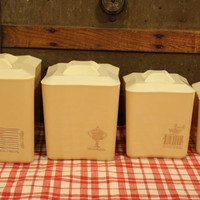 Set Of Four Vintage Tan Brown & Gold Canisters- Plastic Canisters- Flour- Sugar- Coffee- Tea- Plastic Kitchen Storage- Plastic Canister Set