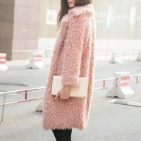 Beige Quality Lapel Long Line Soft Faux Fur Warm Coat - Choies.com