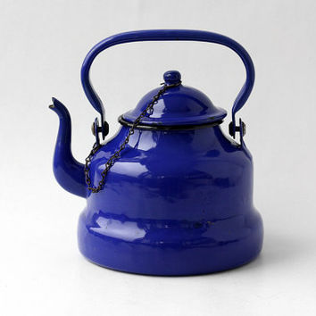 Cobalt Blue Enamel Teapot / Enamelled Large Coffee Kettle Metal Pot - Romania - 70s