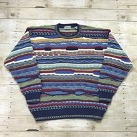 Vintage 90s Coogi Style Shades of Blue Striped Sweater Mens Size Large