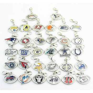 High Quality Mix 32 Football Team Logo Dangle Charms with Lobster Clasp charm Fit DIY Bracelet Or Necklace Jewelry For Fans