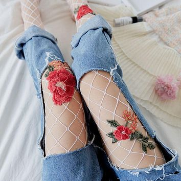 Fashion Women Embroidery Flowers Tights Transparent Fishnet Tight Flower Silk Stockings Lady Mesh Pantyhose