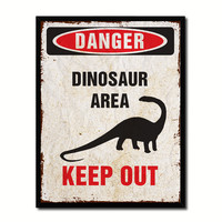 Danger Dinosaur Area Danger Sign Gift Ideas Wall Art Home D?cor Gift Ideas Canvas Pint