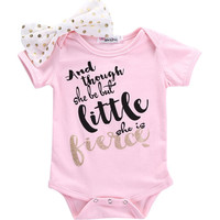 Newborn Toddler Baby Girls Clothes Pink Bodysuit Flower Bow Pink Letter Jumpsuit Baby Girl Clothes Set