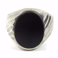 Mens Vintage Onyx Ring Mexican Sterling Size 12