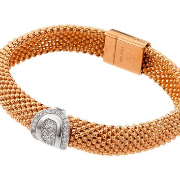 .925 Sterling Silver Rose Gold Plated Oval Micro Pave Clear Cubic Zirconia Beaded Italian Bracelet