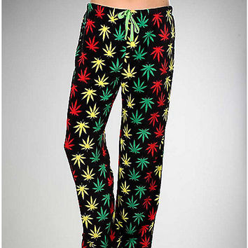 Rasta Weed Plush Lounge Pants - Spencer's