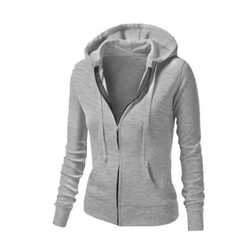 2016 Women Hoodie Jackets Hat Zipper Outerwear Hoodies Long-Sleeve Zip-up Workout Sweatshirt Jacket Women Fitness Tops