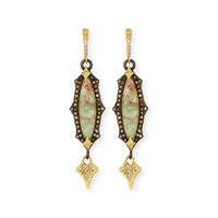 Armenta Old World Scalloped Aquaprase Cabochon Earrings with Diamonds