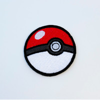 Pokeball Pokemon inspired embroidery patch