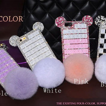 Fashion cute iphone 6 case fur iphone 6 plus case bling rhinestone iphone 6 cases iphone 5s case iphone 4s cases crystal phone case
