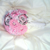 Camo Bridal Brooch Bouquet Pink and White Satin, Chiffon and Lace Fabric Flowers True Timber Camo Rustic Country Redneck Wedding Bouquet