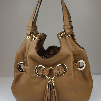 Michael Kors Women's Acorn Tan Braided Grommet Leather Shoulder Purse Bag Ret $