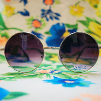 The Lennon | Vintage Hippie Circle Purple Sunglasses Retro Round Glasses