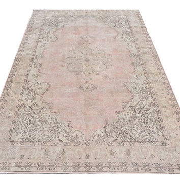 7x10 Ft (210x305 cm) Beige, Brown, light faded Pink Color OVERDYED Vintage Turkish Rug, Distressed Handmade Carpet, pastel washed out colors