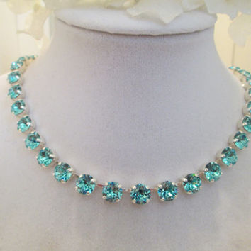 swarovski  turqouise crystal  necklace, bridal, bridesamid gift. beach wedding   #253