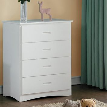Wooden Four Drawer Chest With Cutout Handles, White
